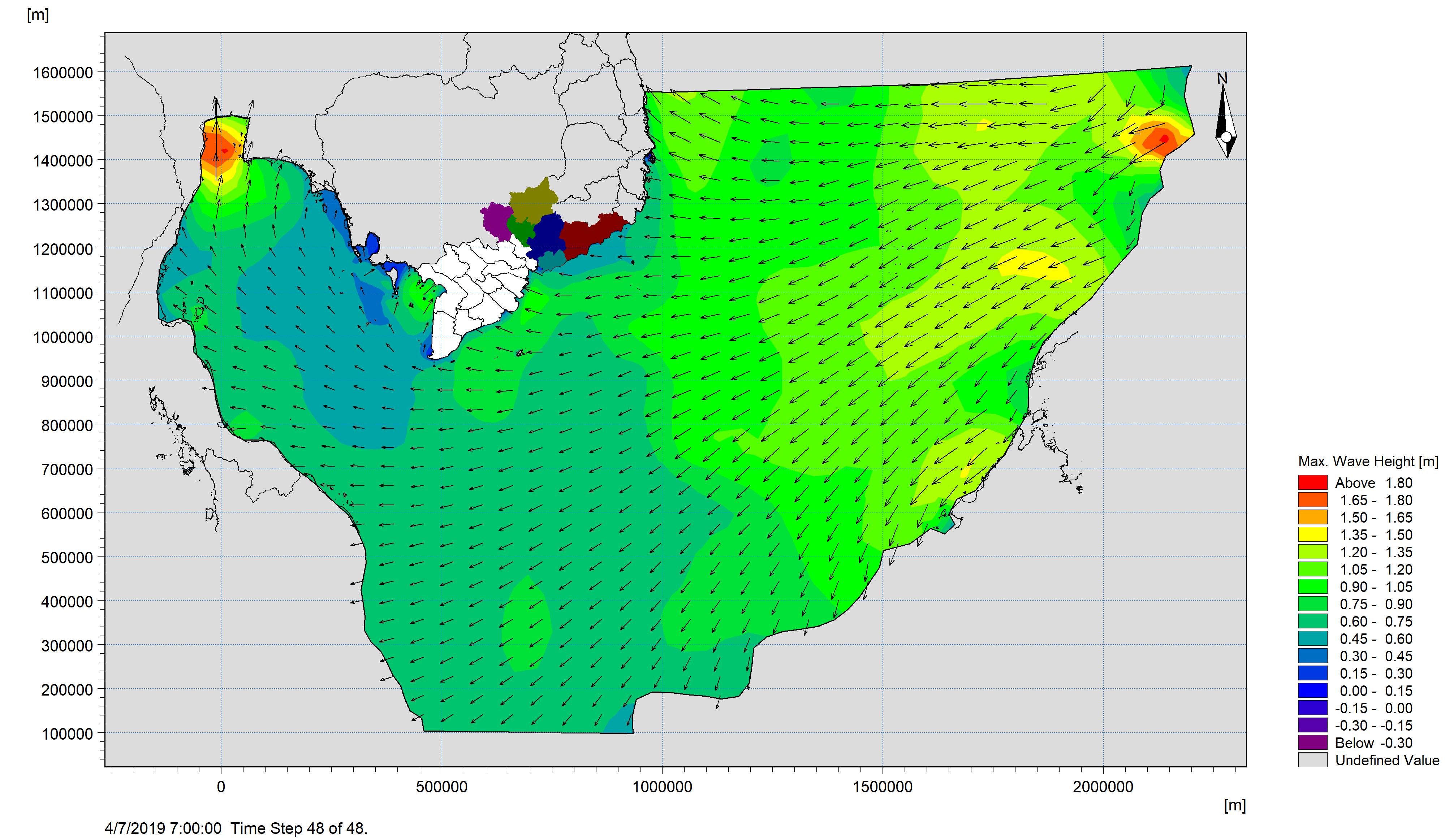 Bản tin dự báo sóng khu vực Nam Bộ từ ngày 05-04-2019 đến ngày 07-04-2019