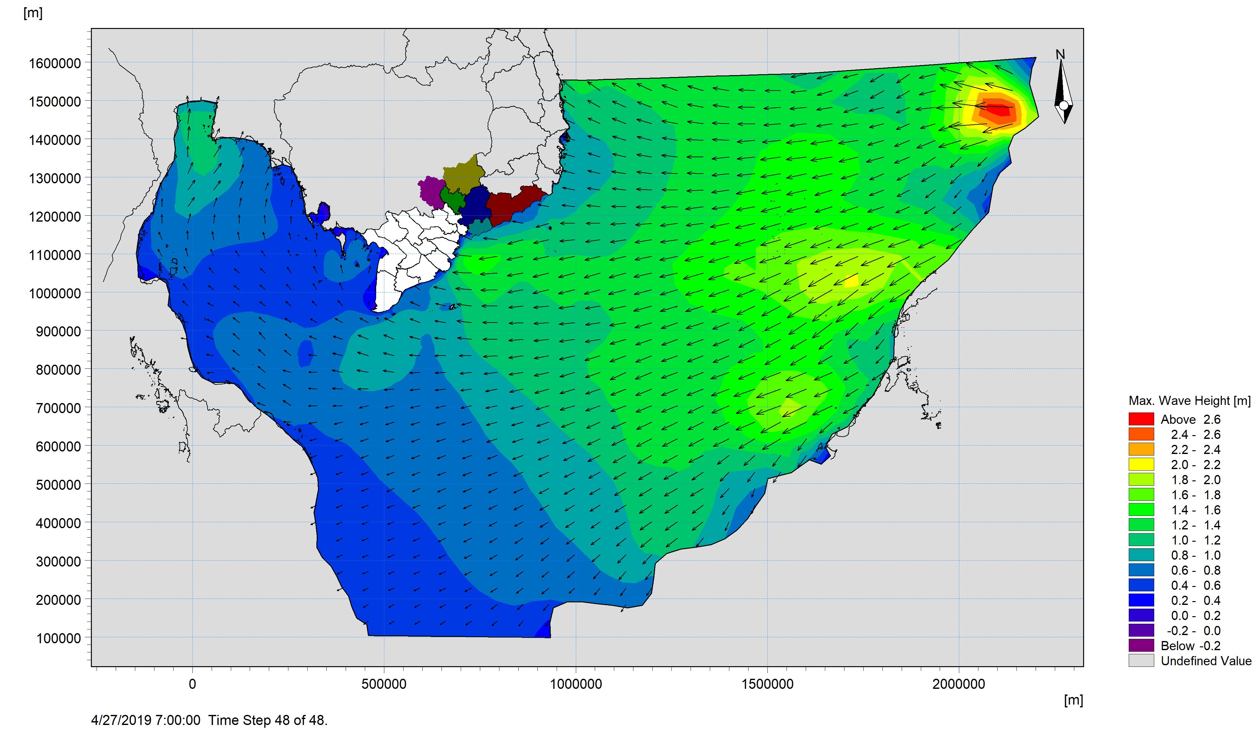 Bản tin dự báo sóng khu vực Nam Bộ từ ngày 25-04-2019 đến ngày 27-04-2019